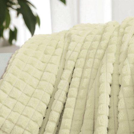 "Sofa Blanket Refined Craft Plaid Flannel Fleece Blanket Knee Blanket Wool Velvet- 59""x78"", Light Yellow - image 6 of 8"