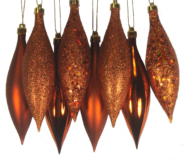 8ct Burnt Orange Shatterproof 4-Finish Finial Drop Christmas Ornaments 5.5""
