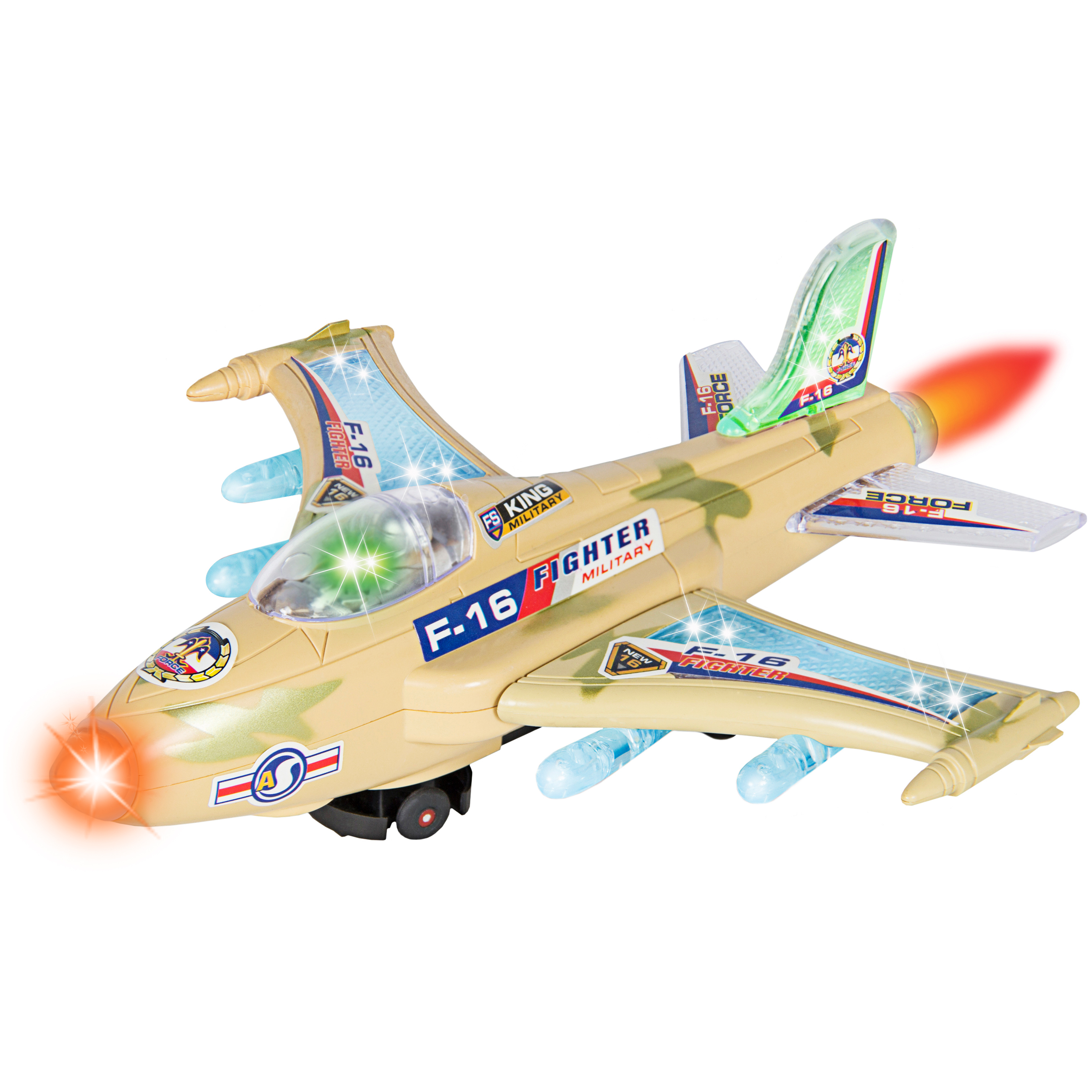 Best Choice Products Kids Toy F-16 Figher Jet Airplane, Flashing Lights and Sound, Bump and Go Action