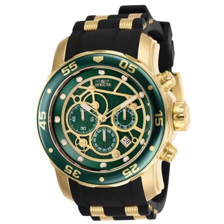 25714 Pro Diver Black Dial Men's Green Bezel Stainless Steel Watch