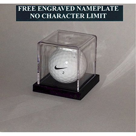 Golf Ball Personalized Hole in One - Eagle - Best Round - Game Acrylic Display Case - Holder Custom Black Base - Free Laser Engraved Name Plate