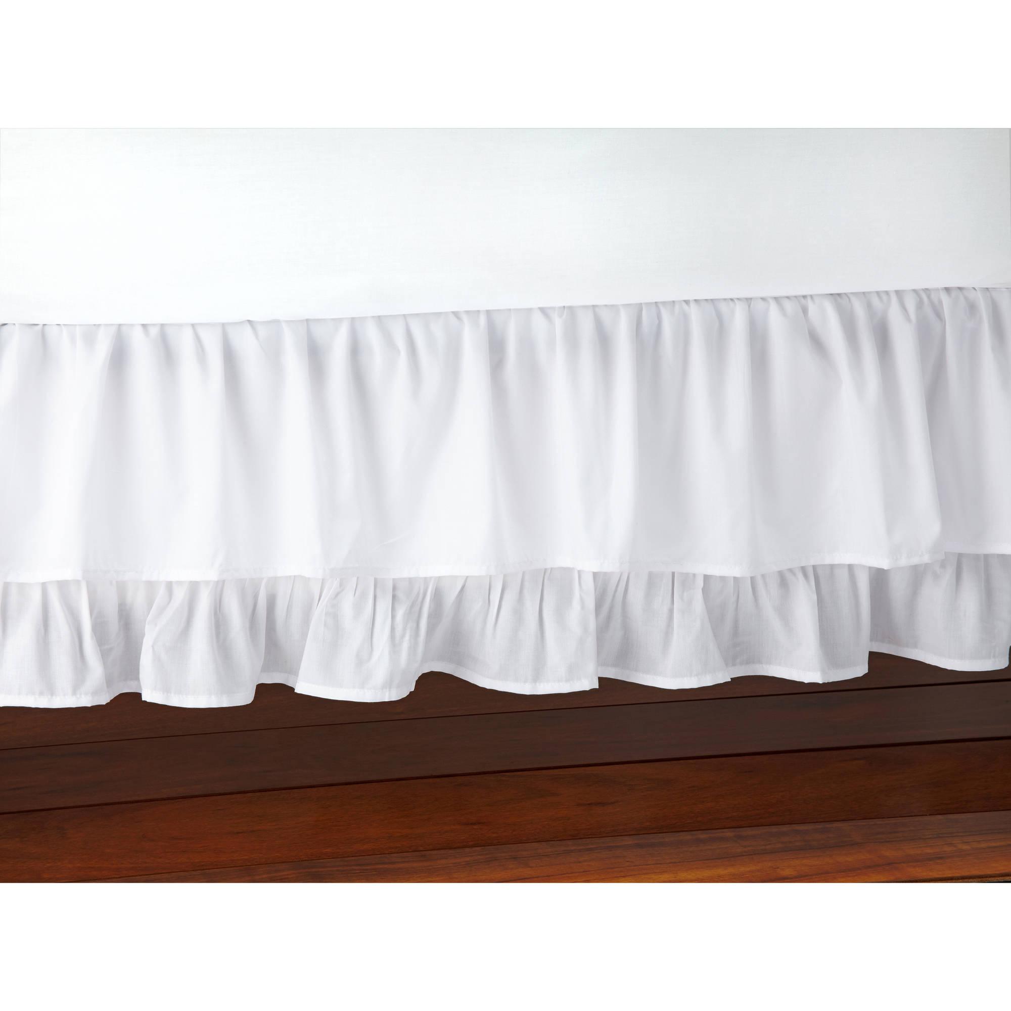 Little Love 2-Tier Ruffled White Crib Skirt/Dust Ruffle