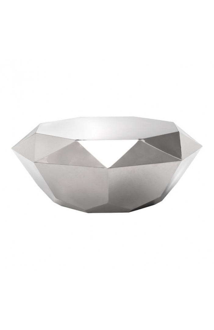 1PerfectChoice Gem Silver Polished Stainless Steel Diamond Shaped Coffee  Table