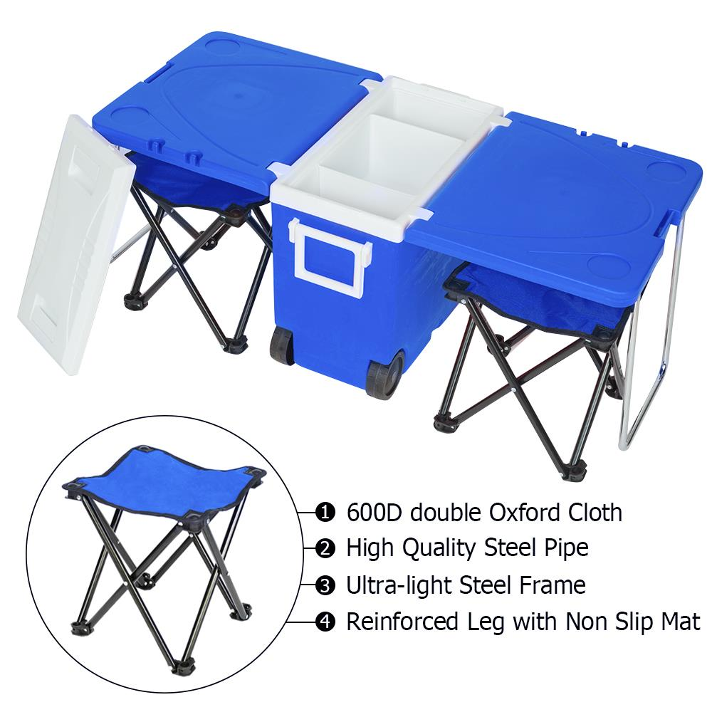 Ktaxon Multi Function Portable Rolling Cooler for Picnic Camping w  Table & 2 Chairs Blue by