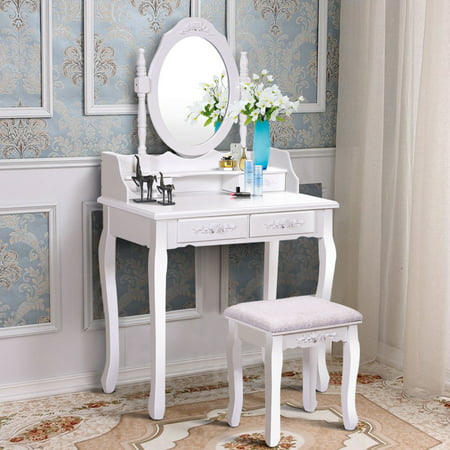 Costway White Vanity Wood Makeup Dressing Table Stool Set