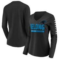 Carolina Panthers Fanatics Branded Women's Team Slogan Long Sleeve V-Neck T-Shirt - Black