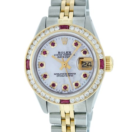 18k Ladies Watch (Pre-Owned Rolex Ladies Datejust Steel & 18K Yellow Gold MOP Diamond & Ruby Watch Jubilee Quickset )