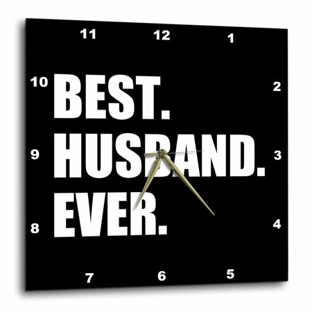 3dRose Best Husband Ever black white text anniversary valentines day for him, Wall Clock, 15 by