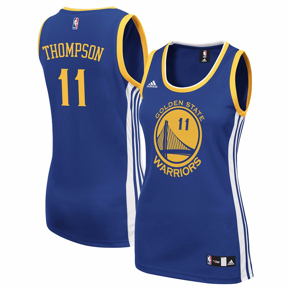 Klay Thompson Golden State Warriors NBA Adidas  Women's Blue Official Road Replica Jersey