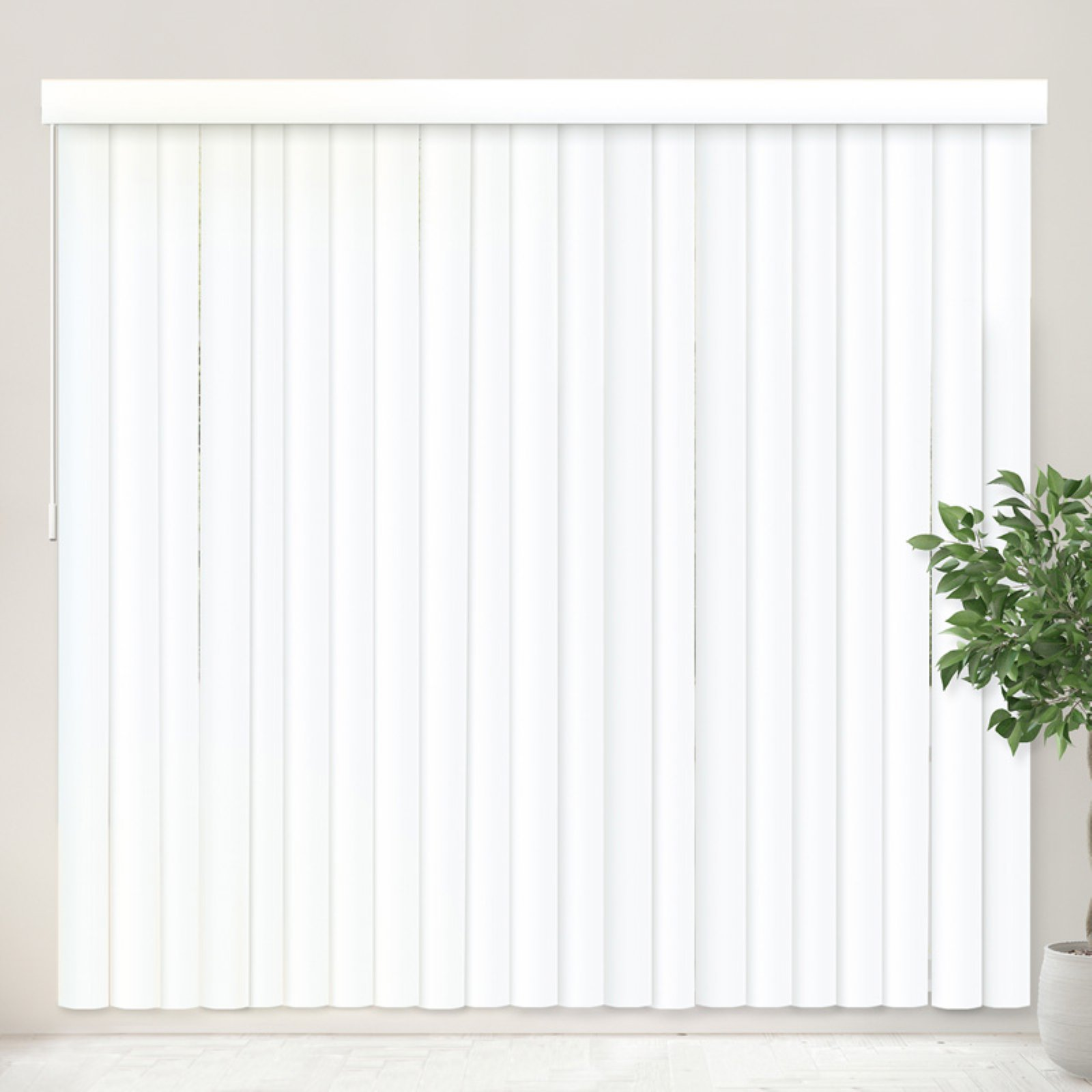 Chicology Vertical Blinds, Patio Door Or Large Window Shade, Oxford White  (High Quality