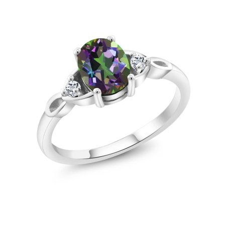 1.38 Ct Oval Green Mystic Topaz White Topaz 925 Sterling Silver Ring
