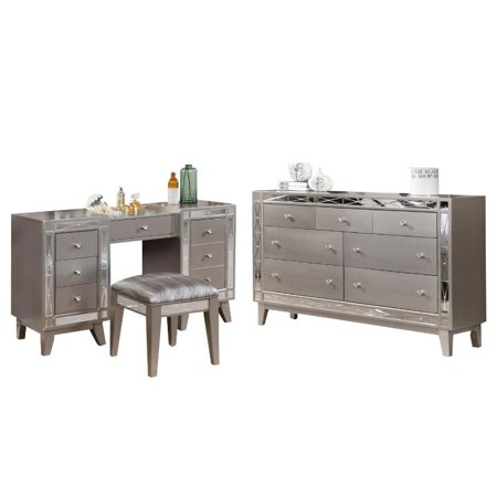 more photos 89cf2 42b52 Leighton 3 Piece Mirrored Vanity plus Stool and Dresser Set in Silver