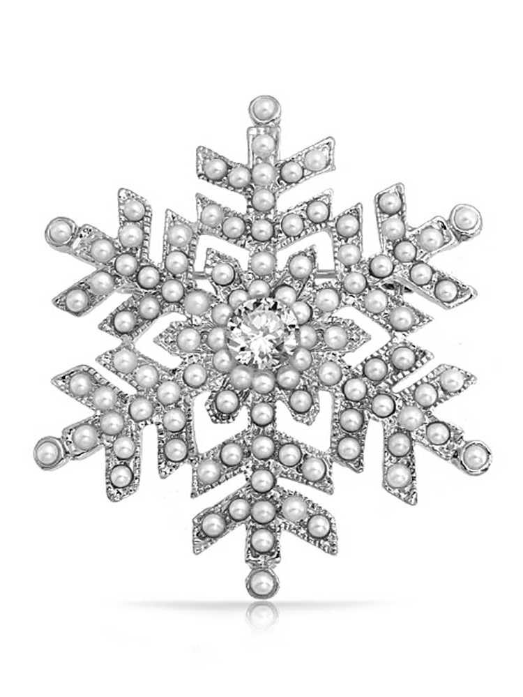Snowflake Brooch Pin White Simulated Pearl Holiday Winter Rhodium Plated Alloy