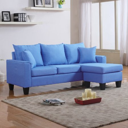 Pleasant Modern Linen Fabric Small Space Sectional Sofa With Reversible Chaise Sky Blue Dailytribune Chair Design For Home Dailytribuneorg