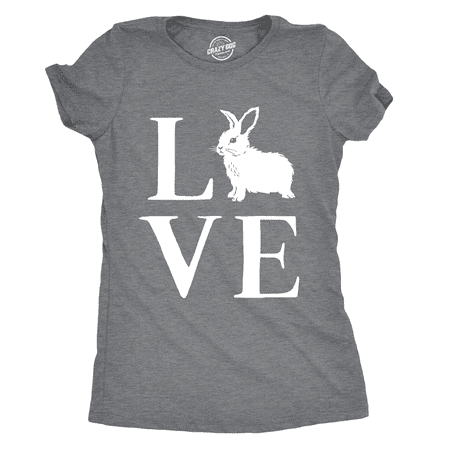 Womens Love Bunny Tshirt Cute Adorable Easter Sunday Rabbit Tee For
