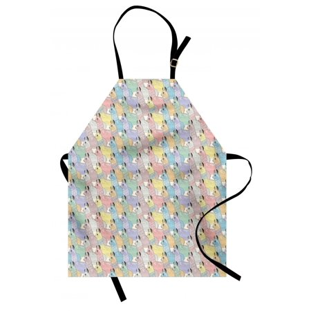 Teen Room Apron Cute Little Alpacas Pattern Soft Toned Camel Animal Kids Nursery Folkloric Print, Unisex Kitchen Bib Apron with Adjustable Neck for Cooking Baking Gardening, Multicolor, by Ambesonne