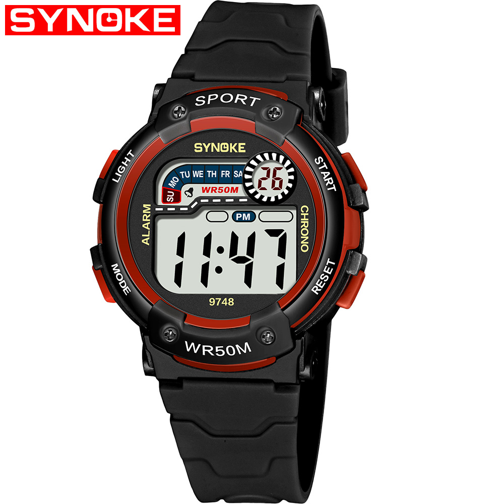 SYNOKE 9748 Child Watch Sport Watch Luminous Alarm Digital Waterproof Wrist Watch kid Watch