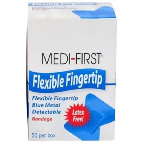 Medique Medi-First Blue Metal Detectable Bandages, Woven Fingertip-Box of 50