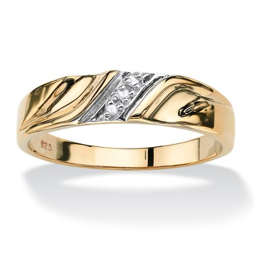 Men's Diamond Accent 18k Gold over Sterling Silver Diagonal Wedding Band Ring - Size 10