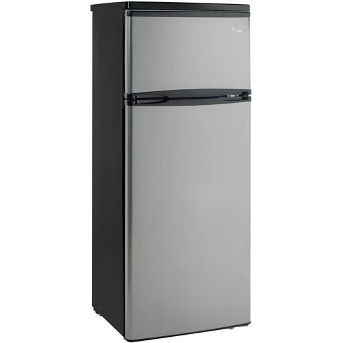 Avanti 7.5 cu ft Two-Door Apartment Size Refrigerator with Platinum Finish Doors, RA755PST, Black