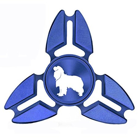 Tri Cavalier King Charles Spaniel - Fidget Spinner Tri-Spinner Blue Aluminum Metal Cavalier King Charles Spaniel Dog