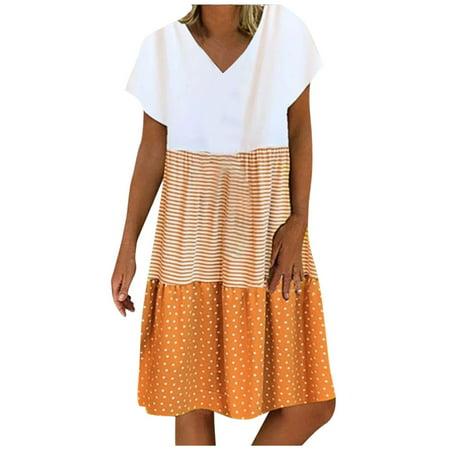 Aimik Women Casual Mini Dress Summer Loose V-Neck Stripe Dot Short Sleeve Ruffle Tiered Hem Linen Dress