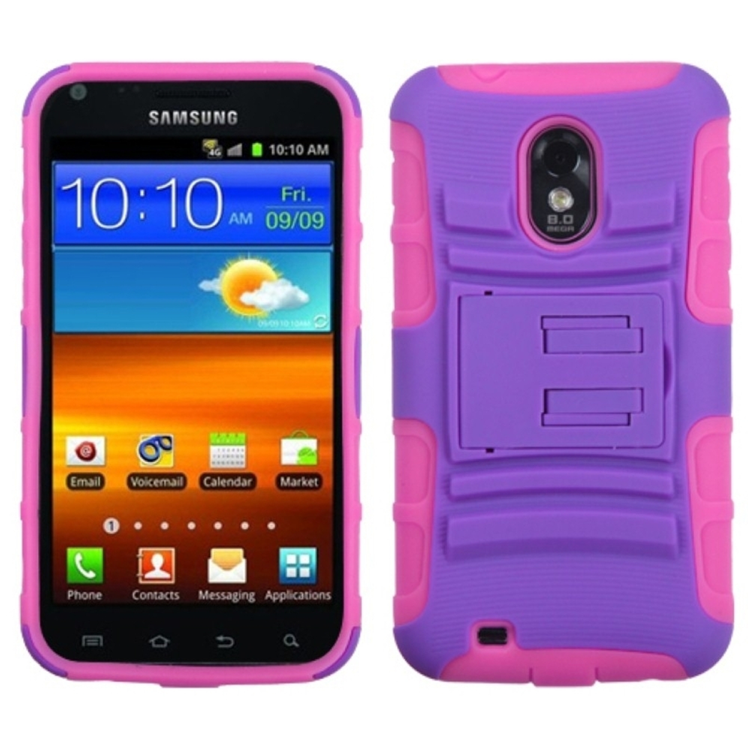 Insten Purple/Electric Pink Advanced Armor Stand Case for SAMSUNG D710 (Epic 4G Touch) R760 (Galaxy S II) S2 4G