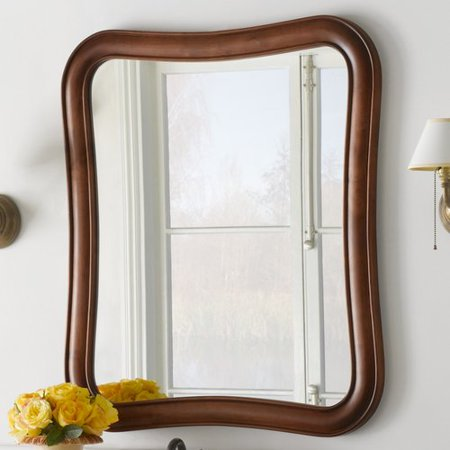 Ronbow vintage fancy solid wood framed bathroom mirror in colonial cherry for Cherry wood framed bathroom mirrors