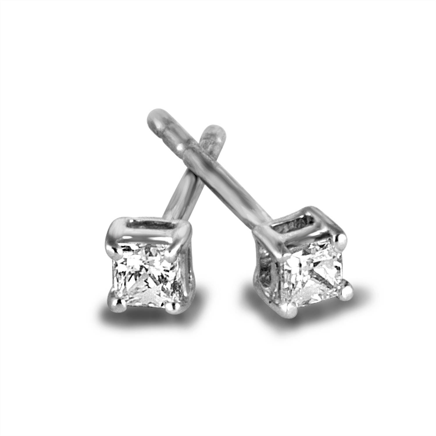 Sterling Silver 1/5 Carat T.W. Princess-cut Diamond Stud Earrings