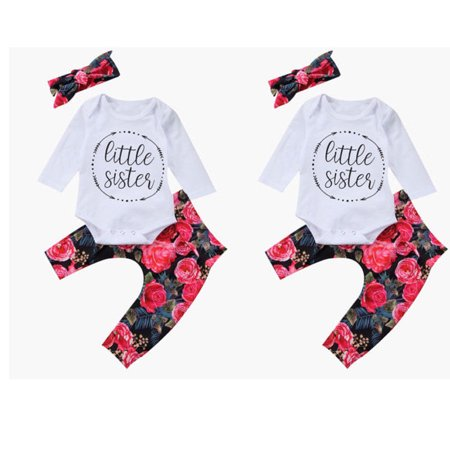 432922fd049 Hirigin - Baby Girls Little Sister Bodysuit Tops Floral Pants Bowknot  Headband Outfits Set - Walmart.com