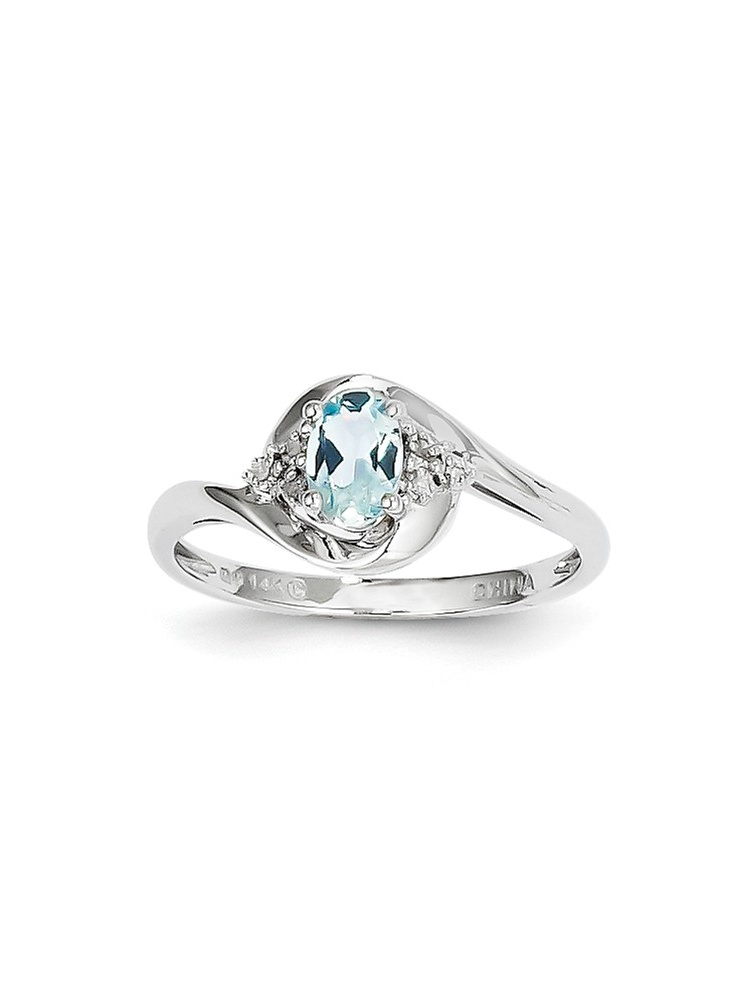 ICE CARATS ICE CARATS 14kt White Gold Blue Aquamarine Diamond Band Ring Size 7.00 Stone Birthstone March Set Style Fine... by IceCarats Designer Jewelry Gift USA