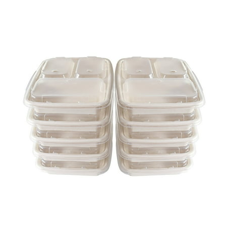 A World Of Deals 3 Compartment Compostable Food Container/Microwave Safe with Lids/Divided Plate/Bento Box, Use for 21 Day Fix, Meal Prep & Portion Control, Black Bottom with Clear Cover, 10 Piece (Halloween Meal Deals)