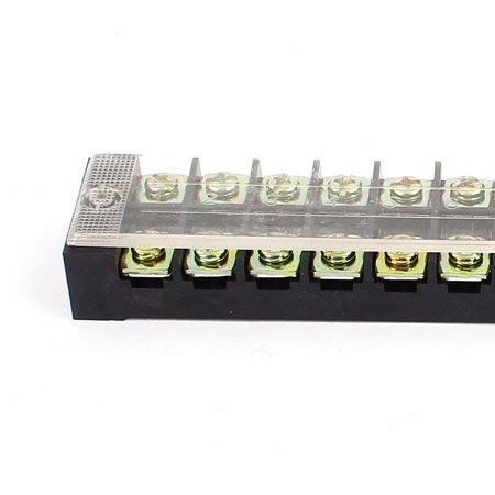 600V 25A Double Row 12 Position Covered Screw Terminal Barrier Blocks TB2512 - image 2 de 4