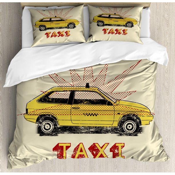 Pop Art Style Old Fashioned Taxi Cab, Old Fashioned Car Bedding