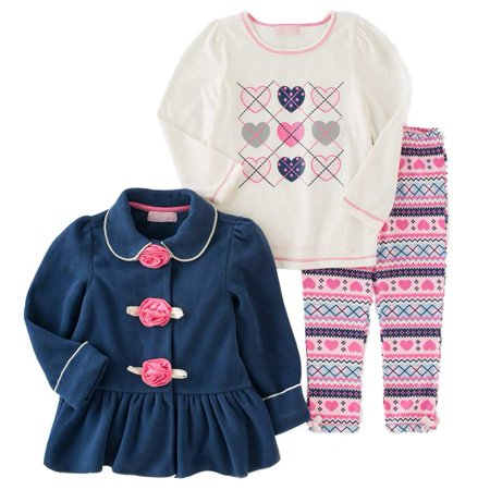 9ac98883e0887e Kids Headquarters Infant Girl Heart Shirt Fleece Jacket Leggings Outfit -  Walmart.com