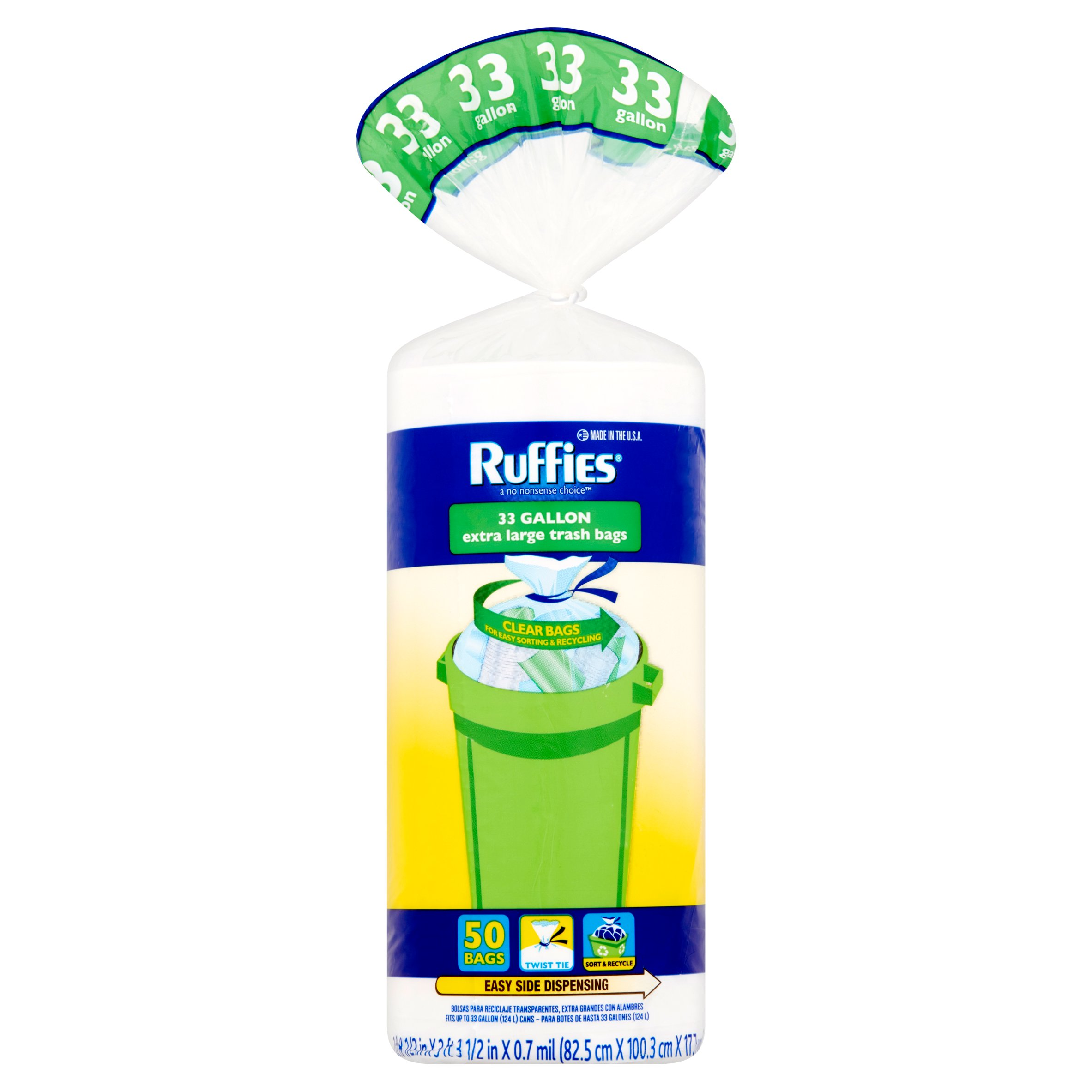 Ruffies Extra Large Trash Bags, Clear, 33 Gallon, 50 ct