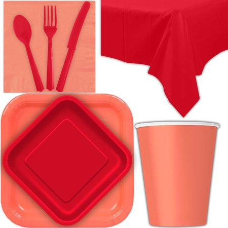 Disposable Party Supplies for 28 Guests - Coral and Ruby Red - Square Dinner Plates, Square Dessert Plates, Cups, Lunch Napkins, Cutlery, and Tablecloths:  Tableware Set