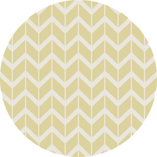 8' Chevron Pathway Chartreuse and White Hand Woven Wool Round Area Throw Rug