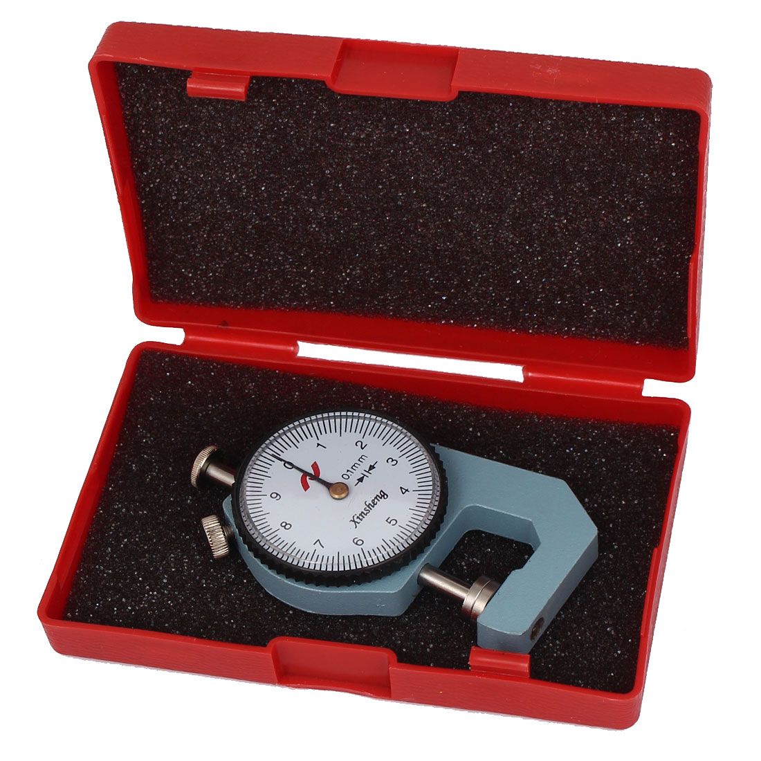 0-10mm x 0.1mm Dial Thickness Gauge Gage Pocket Measuring Tool Gray w Case by Unique-Bargains