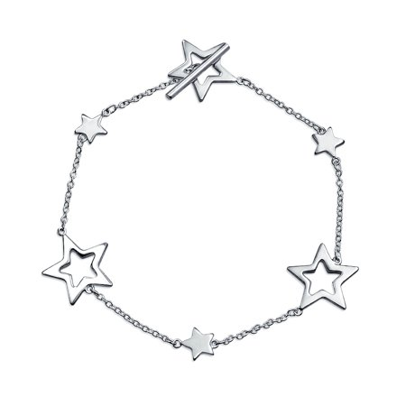 - Patriotic Open Lucky Stars Rock Star Bracelet For Women For Teen Polished 925 Sterling Silver Toggle Clasp