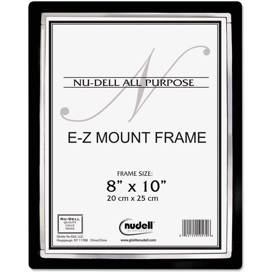 "NuDell EZ Mount II Document Frame, Plastic, 8"" x 10"", Black/Silver"