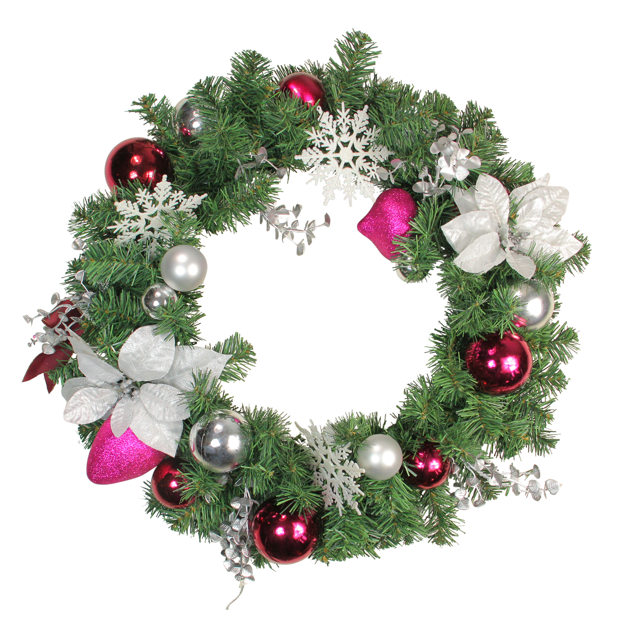 "Pre-Lit Artificial 24/"" Wreath /& 9/' Ft Garland Pinecone Berry Poinsettia 2 Pc Set"
