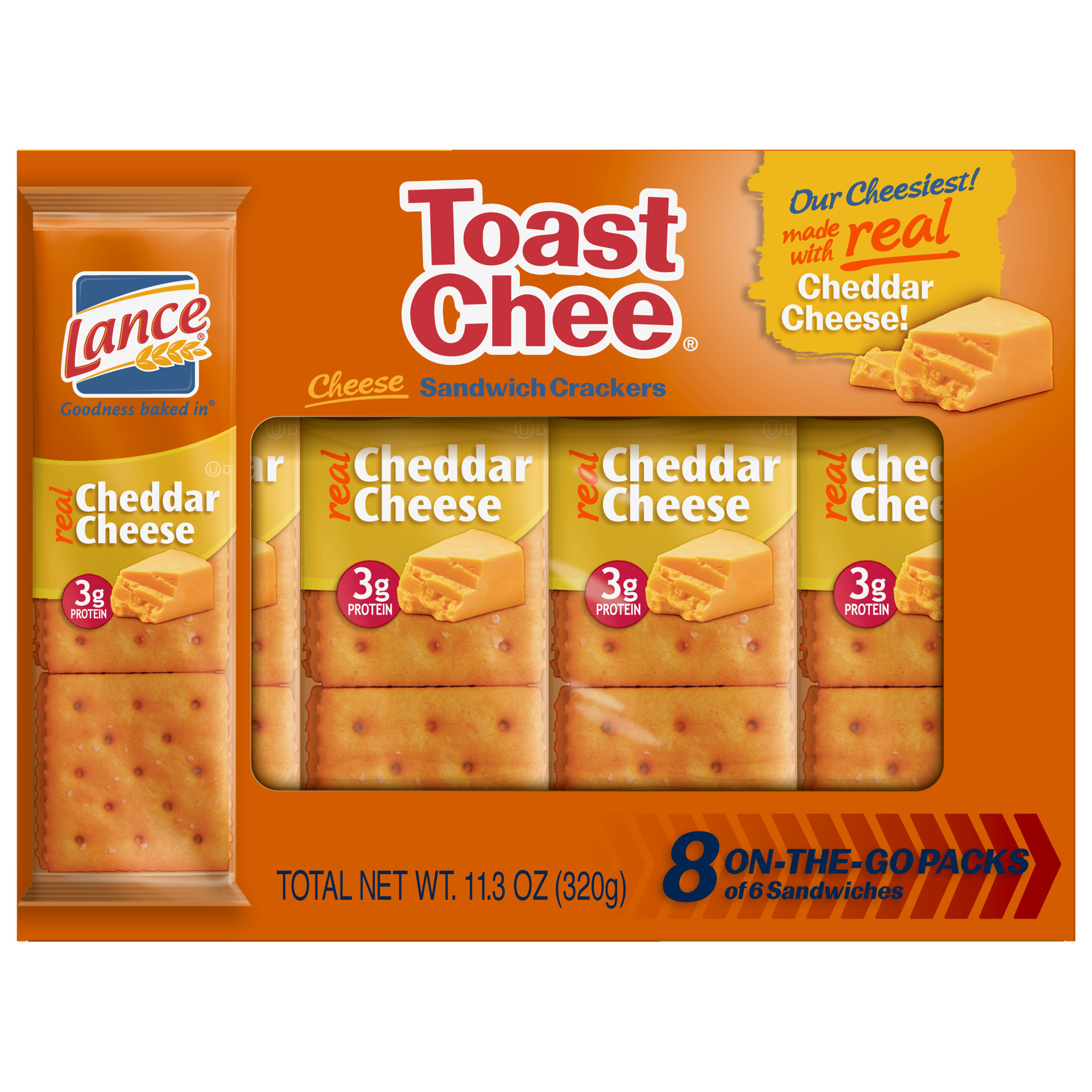 Lance Sandwich Crackers, Toastchee Cheddar, 8 Ct
