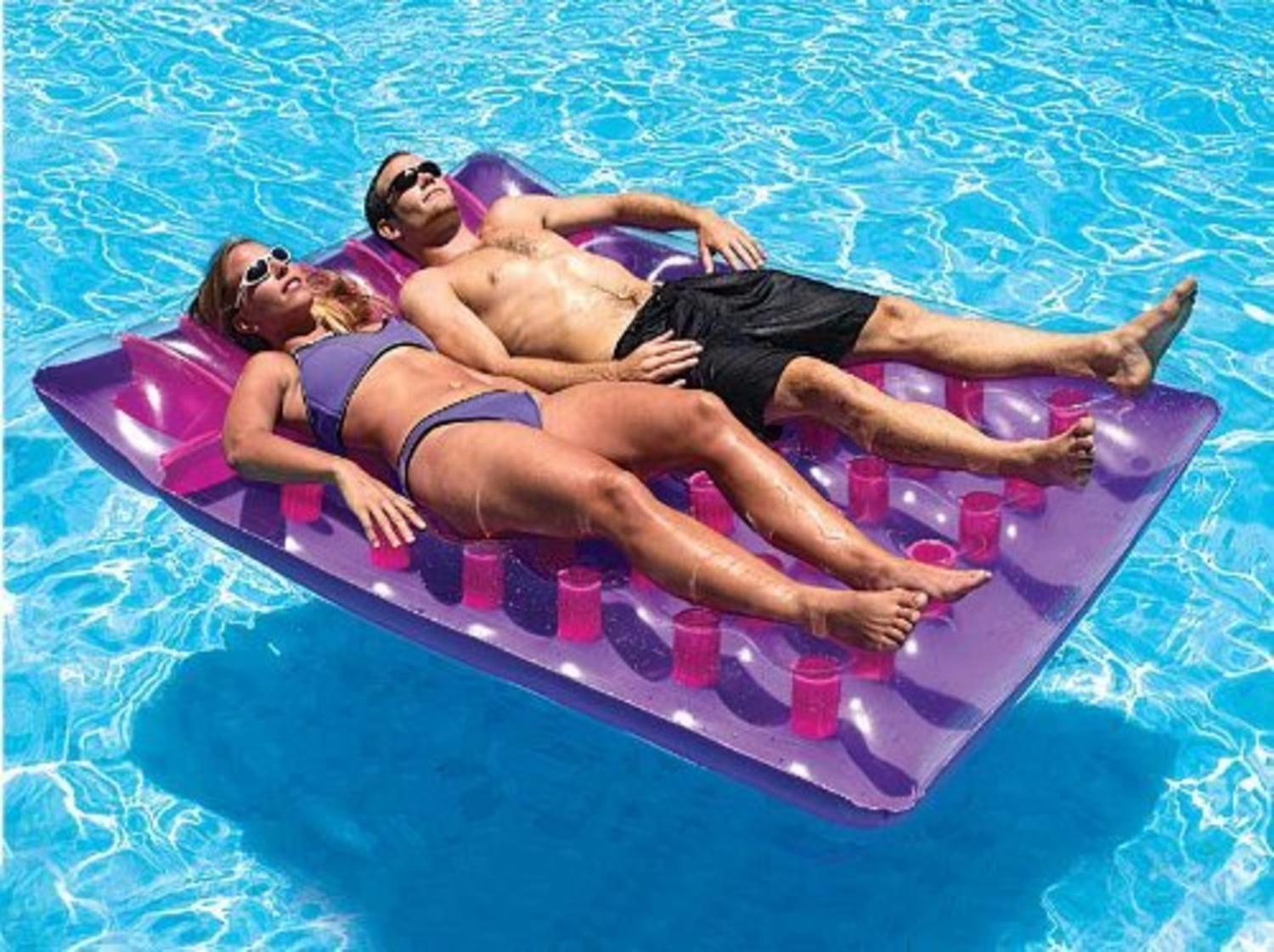 """78"""" Water Sports Purple Two-Person Double Inflatable Swimming Pool Mat Float by Swim Central"""
