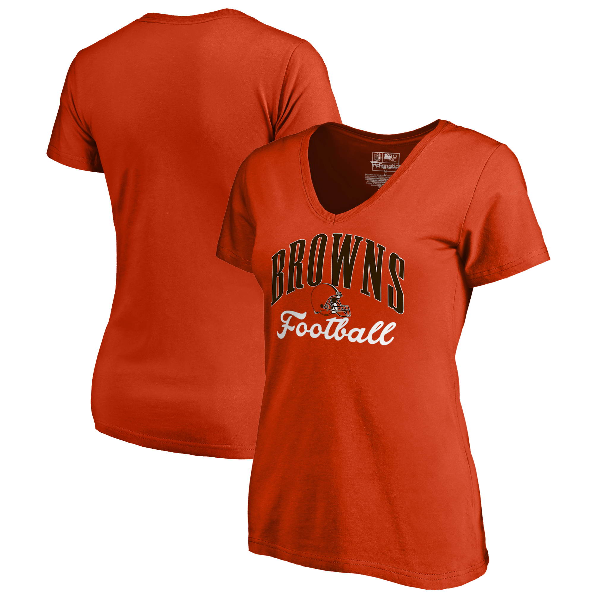 Cleveland Browns NFL Pro Line by Fanatics Branded Women's Victory Script V-Neck T-Shirt -Orange