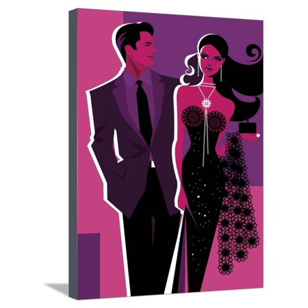 Couples To Dress Up As (Couple Dressed Up for Night on the Town Stretched Canvas Print Wall)