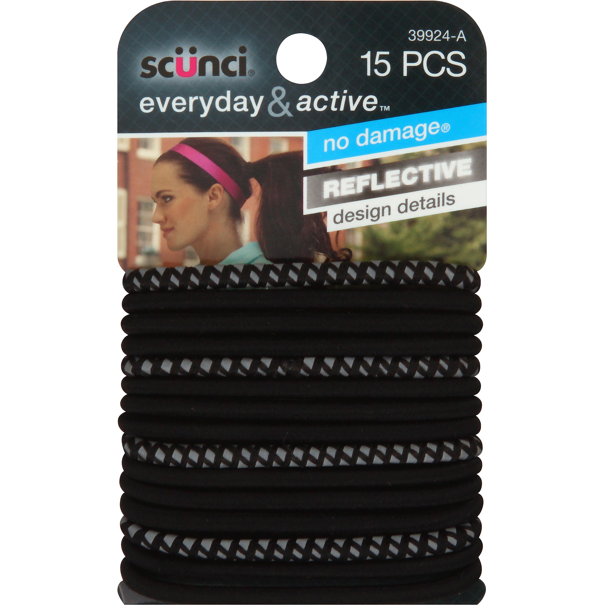 Scunci Everyday & Active Hair Ties, Black, 15 count