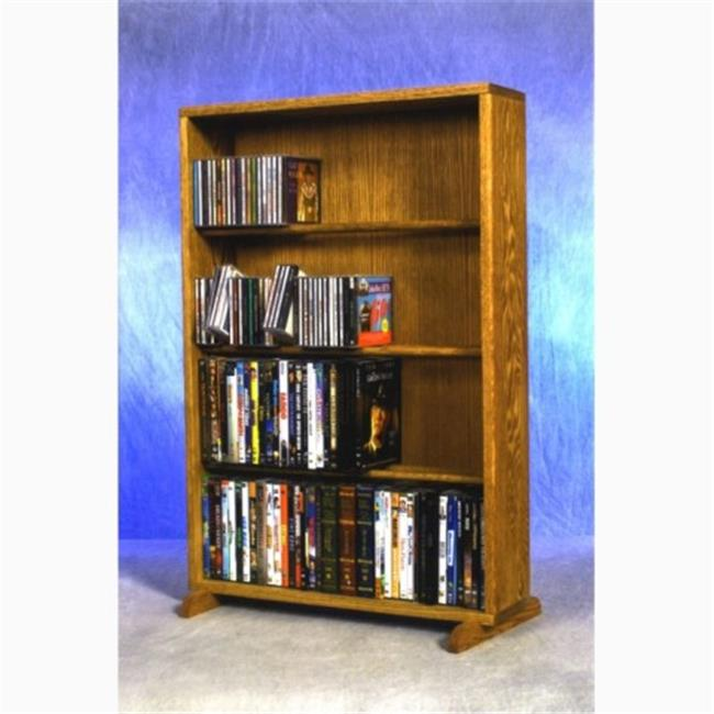 Wood Shed 415-24 Combo Solid Oak 4 Row Dowel CD-DVD Cabinet Tower