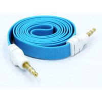 Compatible With Moto G7 Power - Blue Flat Aux Cable Car Stereo Wire Audio Speaker Cord J2X for Motorola Moto G7 Power