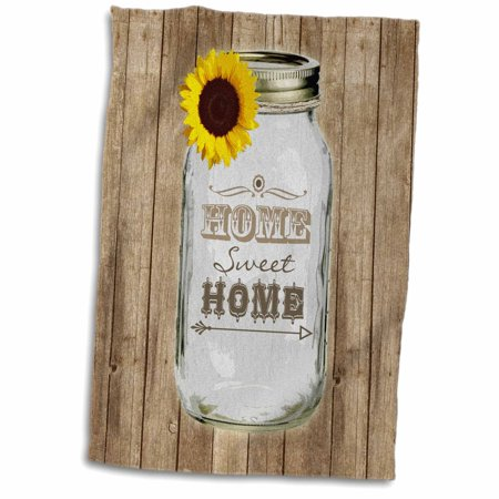 3dRose Country Rustic Mason Jar with Sunflower - Home Sweet Home - Towel, 15 by 22-inch